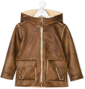 Il Gufo shearling lined hooded jacket