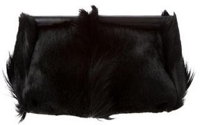 Calvin Klein Collection Leather-Trimmed Goat Hair Clutch