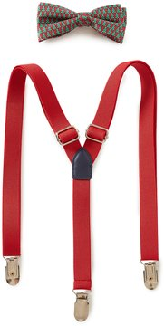 Class Club Christmas Tree Bow Tie & Solid Suspenders Set