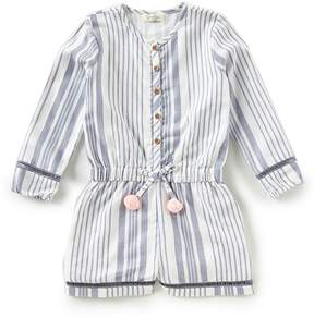 Jessica Simpson Little Girls 2T-6X Striped Long-Sleeve Romper