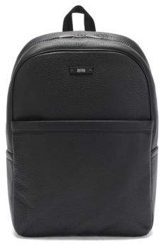HUGO BOSS Textured Leather Backpack Traveller Backp S17 One Size Black