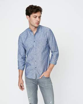 Express Slim Band Collar Button Front Shirt