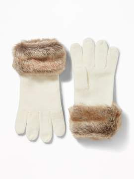 Old Navy Sweater-Knit Faux-Fur Cuff Gloves for Women