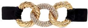 Erickson Beamon 'Linkedin' Swarovski crystal interlocking hoop charm velvet choker
