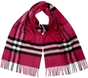 Burberry Classic Cashmere Scarf in Check - Fuchsia Pink