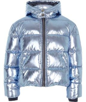 River Island Girls blue foil hooded puffer jacket