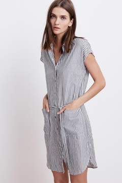 Velvet by Graham & Spencer SONAY COTTON STRIPE BUTTON UP SHIRT DRESS