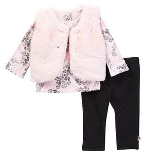 Offspring Delicate Faux Fur Blush Vest Set - 3-Piece Set (Baby Girls)