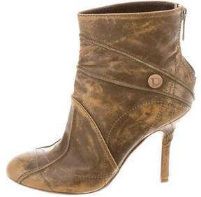 Christian Dior Distressed Leather Ankle Boots