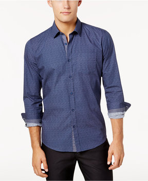 Ryan Seacrest Distinction Men's Blue Chambray Button Placket Woven Shirt, Created for Macy's