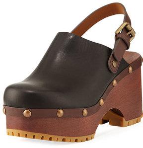 See by Chloe Platform Leather Clog, Black