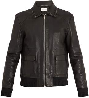 Saint Laurent Point-collar stud-embellished leather jacket