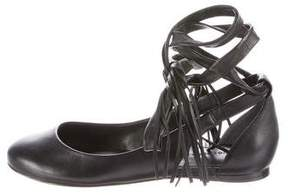 Sigerson Morrison Round-Toe Leather Flats