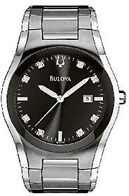 Bulova Men's Stainless Steel & Diamond BraceletWatch