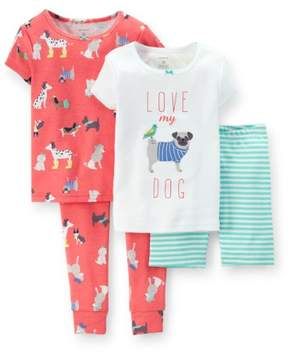 Carter's Baby Clothing Outfit Girls 4-Piece Snug Fit Cotton PJs Love My Dog Pink