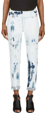 Anthony Vaccarello Blue Bleached Denim Cropped Jeans