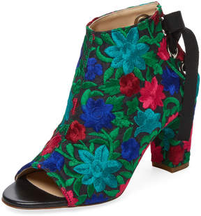 Jerome C. Rousseau Women's Crayon Embroidered Peep-Toe Bootie