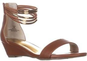 Thalia Sodi Ts35 Leyna Ankle-cuff Wedge Dress Sandals, Cognac.