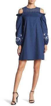 Cynthia Steffe CeCe by Cold Shoulder Balloon Sleeve Embroidered Dress