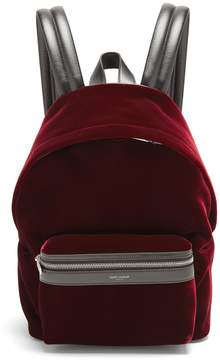 Saint Laurent City velvet backpack - BURGUNDY - STYLE