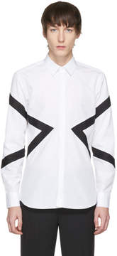 Neil Barrett White and Black Mixed Textures Modernist Shirt