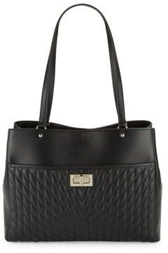 Karl Lagerfeld Diamond Stitched Leather Tote