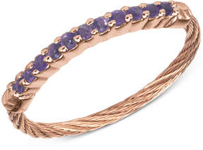 Charriol Women's Amethyst Crystal Rose Gold-Tone Pvd Stainless Steel Cable Ring