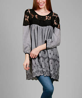 Lily Gray & Black Floral Lace Tunic - Plus