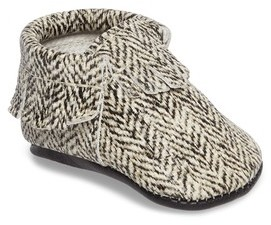 Freshly Picked Infant Girl's Herringbone Print Moccasin