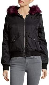 C&C California Faux Fur Trim Bomber Jacket