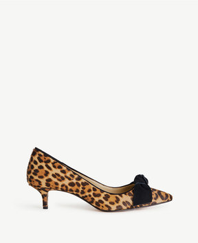 Ann Taylor Ashlyn Leopard Print Haircalf Bow Pumps