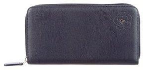 Chanel Long Camellia Zip Wallet