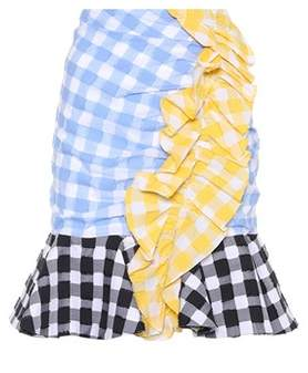 Caroline Constas Gingham cotton skirt