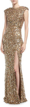 Rachel Gilbert Metallic Beaded Cap-Sleeve Gown