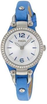 Fossil Georgia Mini Silver Dial Blue Leather Strap Ladies Watch ES3474
