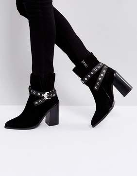 Sol Sana Tessa Black Suede Leather Heeled Ankle Boots