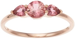 Lauren Conrad 10k Rose Gold Pink Tourmaline 3-Stone Ring