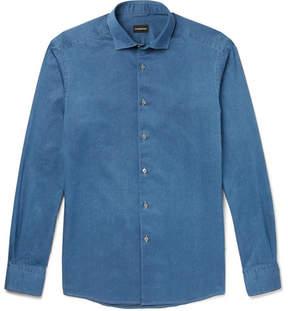 Ermenegildo Zegna Slim-Fit Cutaway-Collar Denim Shirt