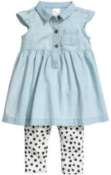 H&M Denim Dress and Leggings - Blue