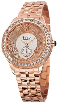 Burgi Silver and Gold Dial Rose Gold-tone Steel Case Ladies Watch