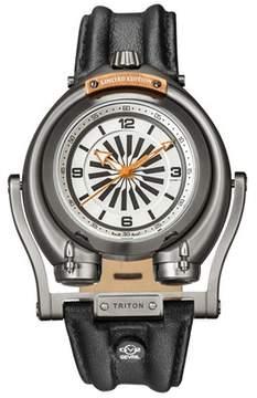 Triton GV2 Gv2 Ip Gun Case White/orange Dial With Black Indexes Black Leather Strap Gv2 Watch.