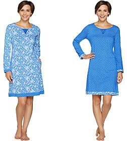 Carole Hochman Floral Fields & Geo Cotton Sleepshirt Set
