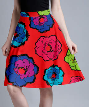 Lily Red Floral A-Line Skirt - Women & Plus