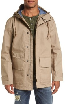 French Connection Men's Regular Fit Hooded Rain Jacket