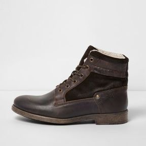 River Island Mens Dark brown leather fleece lined boots
