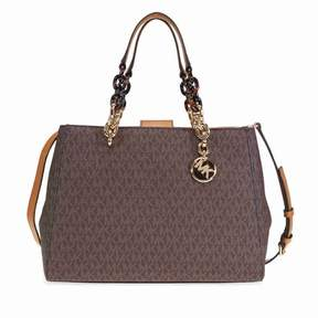 Michael Kors Cynthia Medium Logo Satchel- Brown - ONE COLOR - STYLE