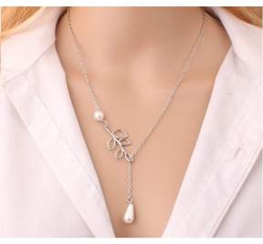 Alpha A A Silver Tone Pearls and Charm Leaf Necklace Measures 18