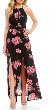 B. Darlin High-Neck Floral-Print Maxi Dress