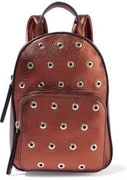 RED Valentino Eyelet-Embellished Metallic Textured-Leather Backpack