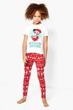 boohoo Girls Disney Mickey Christmas Tee & Legging Set